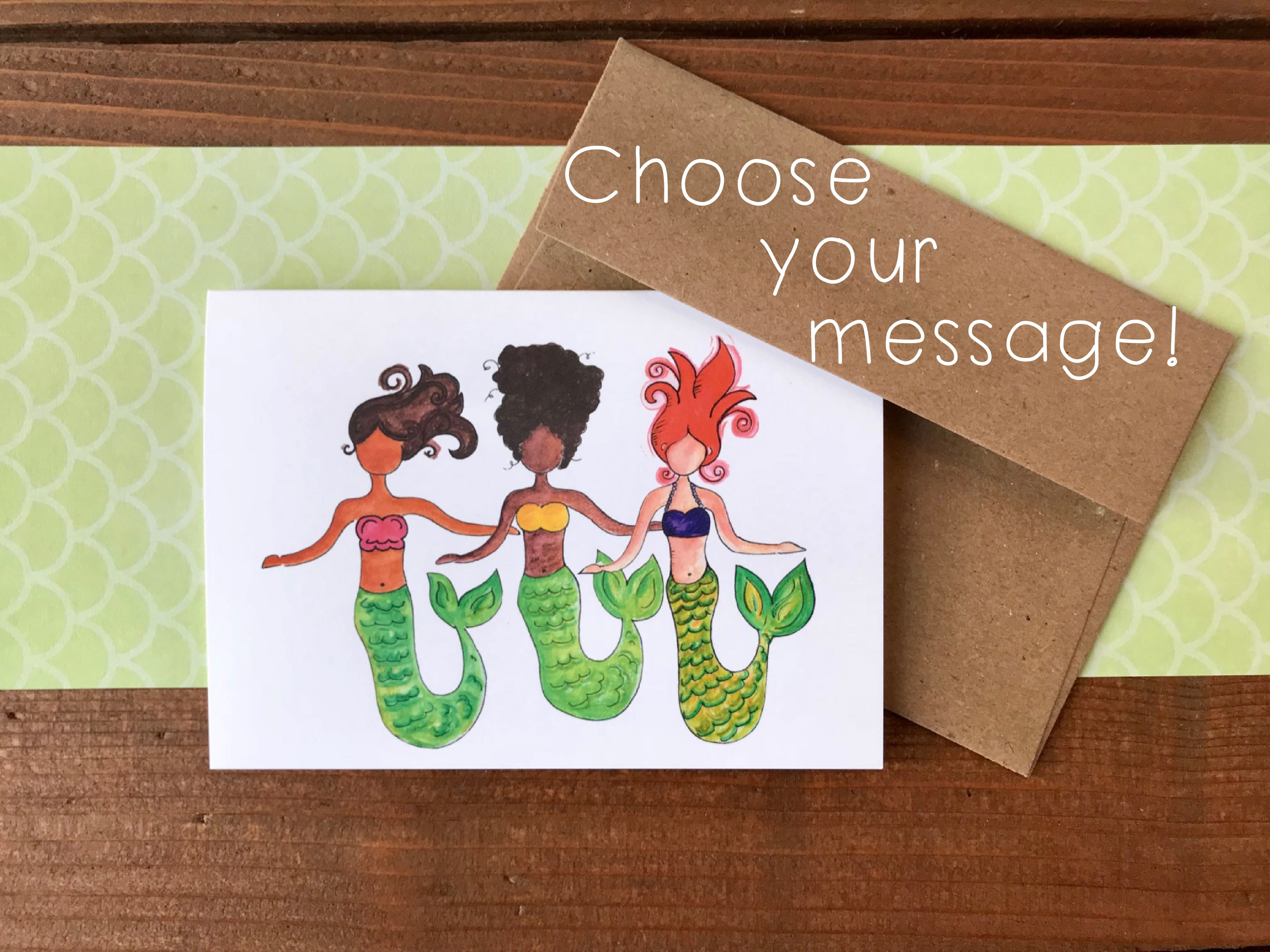 Mermaid Trio  Cards, Choose Your Message - Boxed Set of 8
