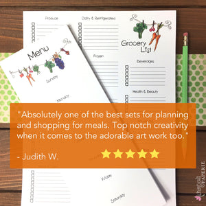 Large Grocery List and Menu Planning Notepad Combo - Set of 2 Magnetic Notepads