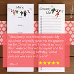 Skinny Grocery List and Menu Planner Notepad Combo - Set of 2 Magnetic Notepads