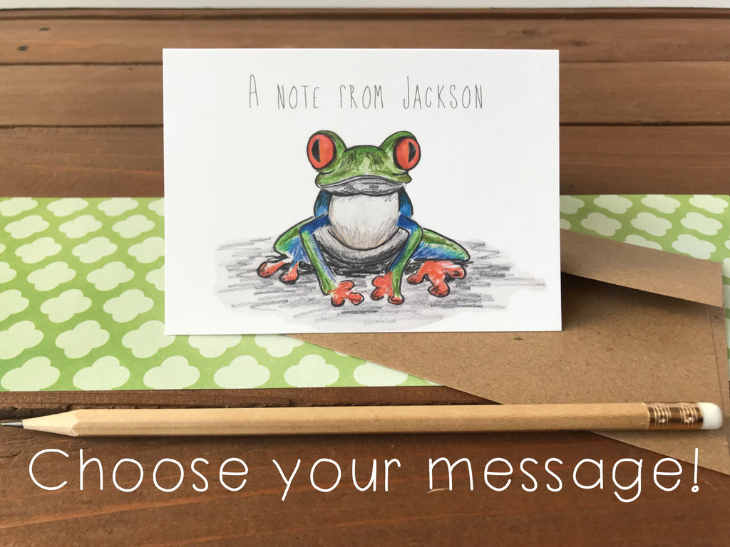 Tree Frog Cards, Choose Your Message - Boxed Set of 8 Cards