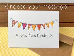 Bunting  Cards, Choose Your Message - Boxed Set of 8