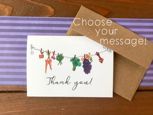 Clothesline Veggies Cards, Choose Your Message - Boxed Set of 8