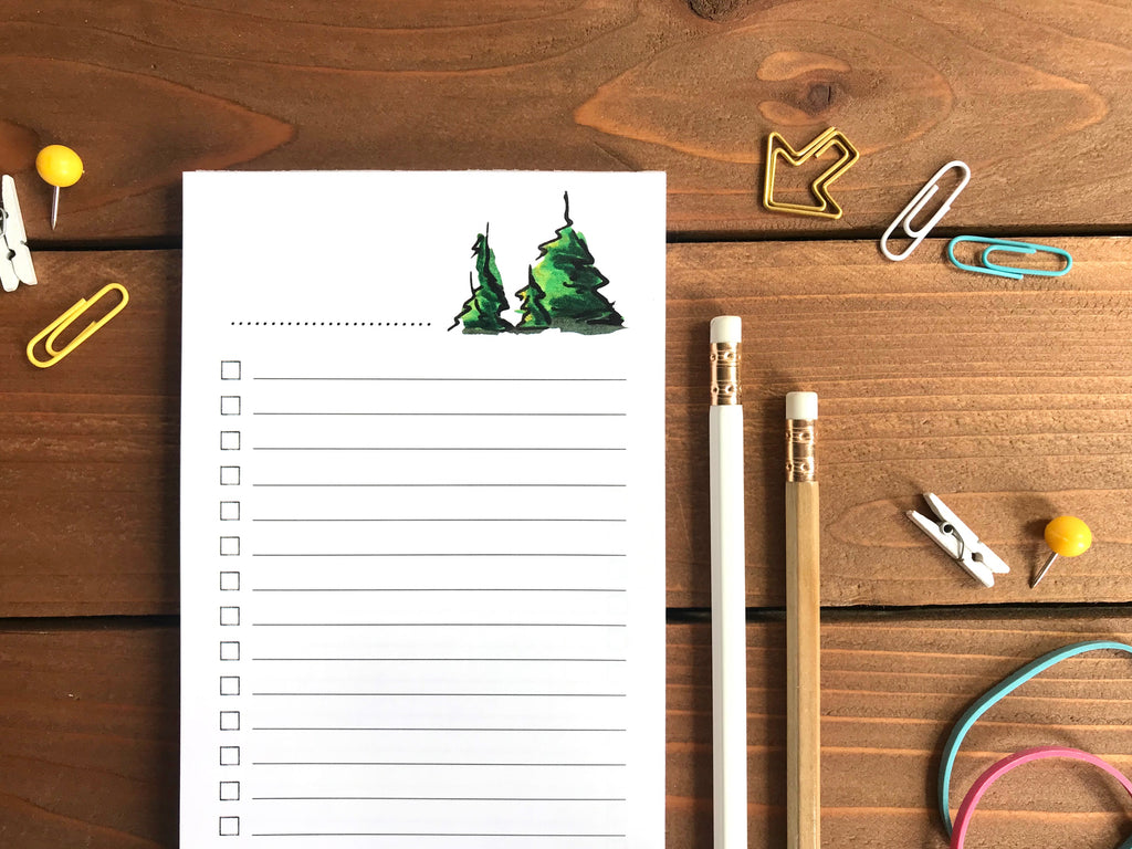 Pine Tree Double Sided To Do List Notepad - Magnetic | Double Sided Sheets | Personalization Available