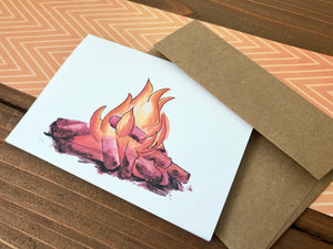 Campfire Illustration - Camping Cards