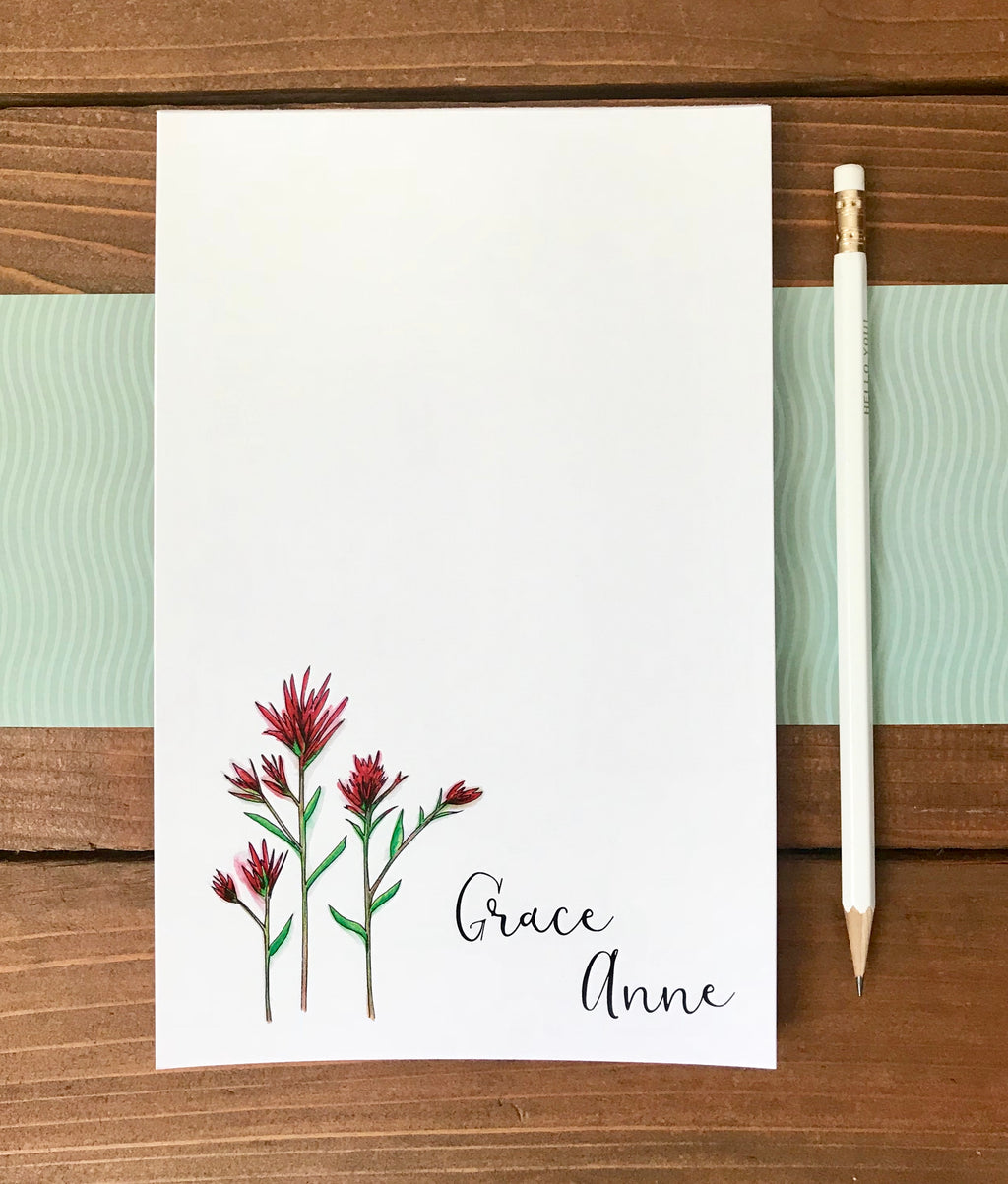 Indian Paintbrush Flower Notepad - Personalization Available