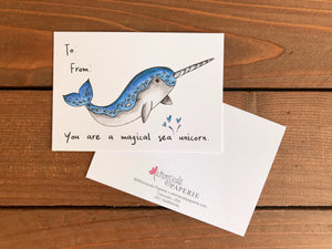 Narwhal Valentine's Day Cards for Kids - Sets of 8 Classroom Valentine Cards