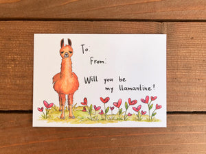 Llama Valentine's Day Cards for Kids - Sets of 8 Classroom Valentine Cards