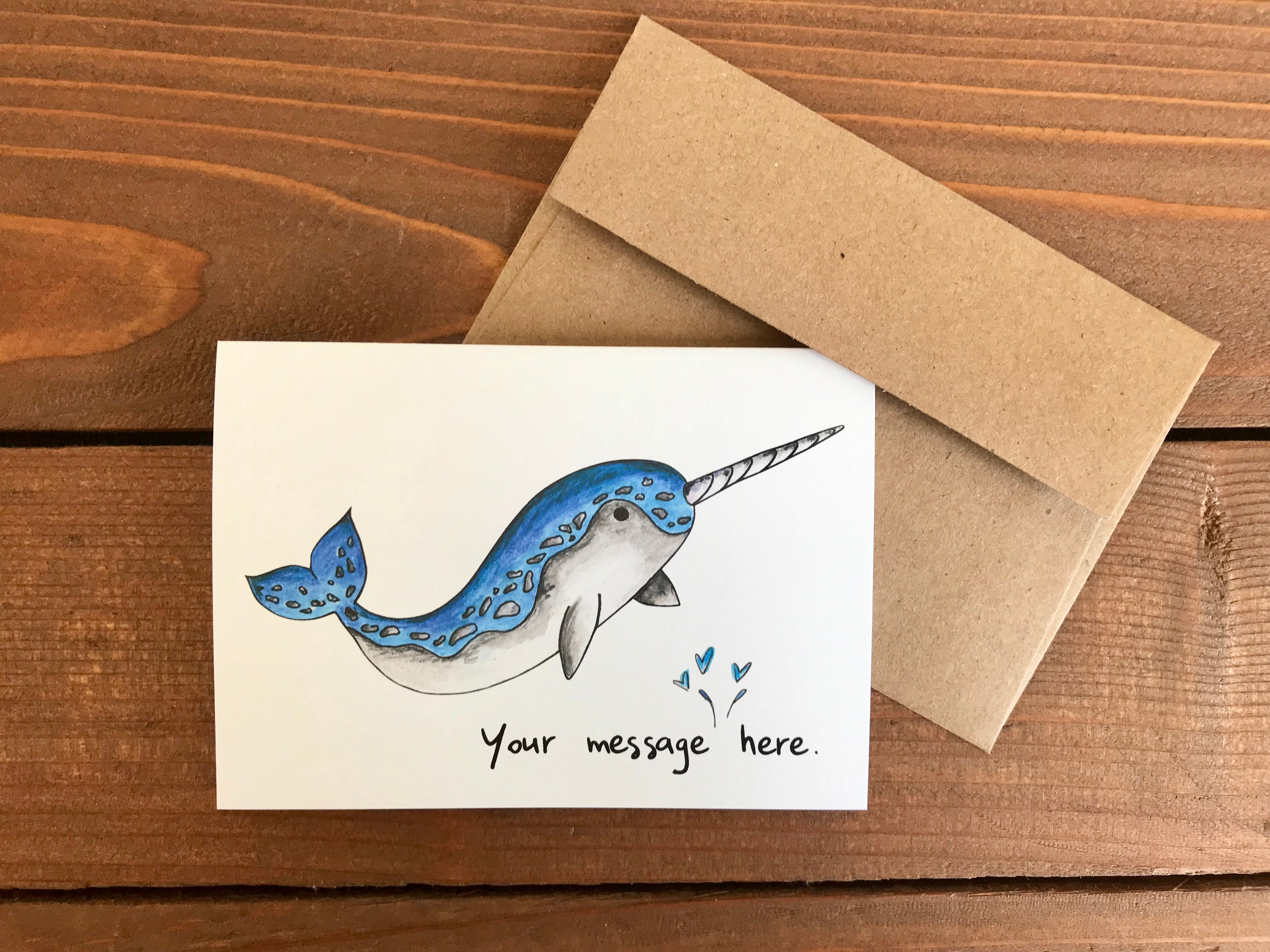 Narwhal Notecards, Choose Your Message - Boxed Set of 8