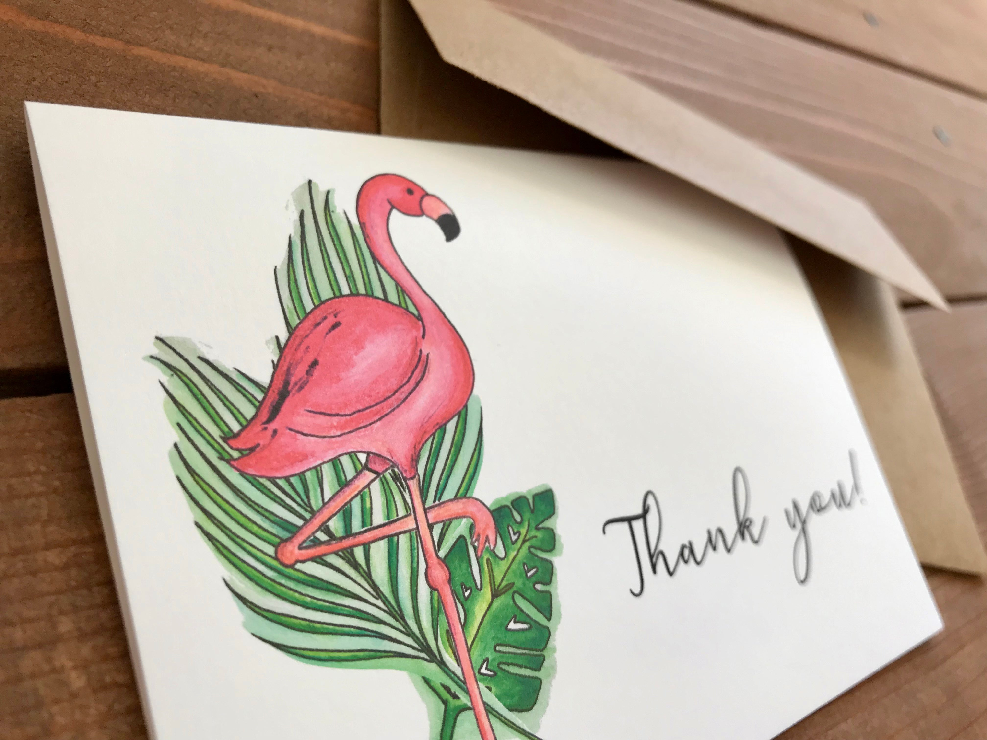 Flamingo Notecards, Choose Your Message - Boxed Set of 8