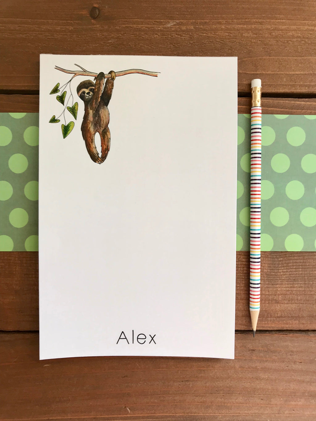 Sloth Notepad  - Personalization Available