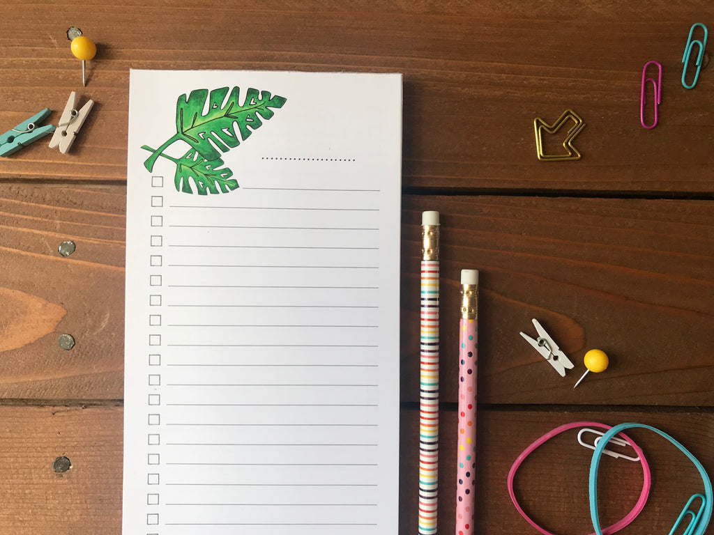 Tropical Monstera Leaf To Do List Notepad - Magnetic | Double Sided Sheets | Personalization Available