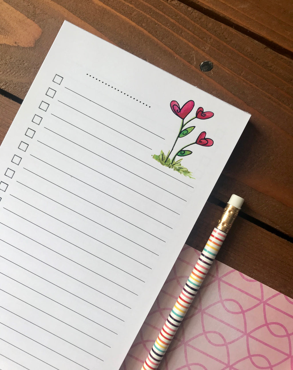 Heart Flowers Double Sided To Do List Magnetic Notepad
