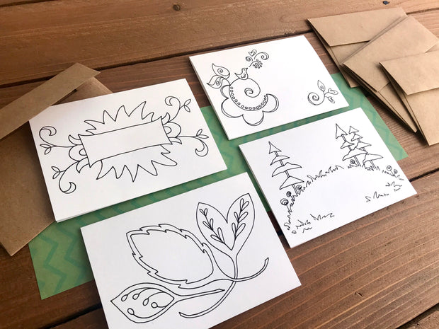 Color Your Own Notecards - Assorted Set of 8 Coloring Cards 1