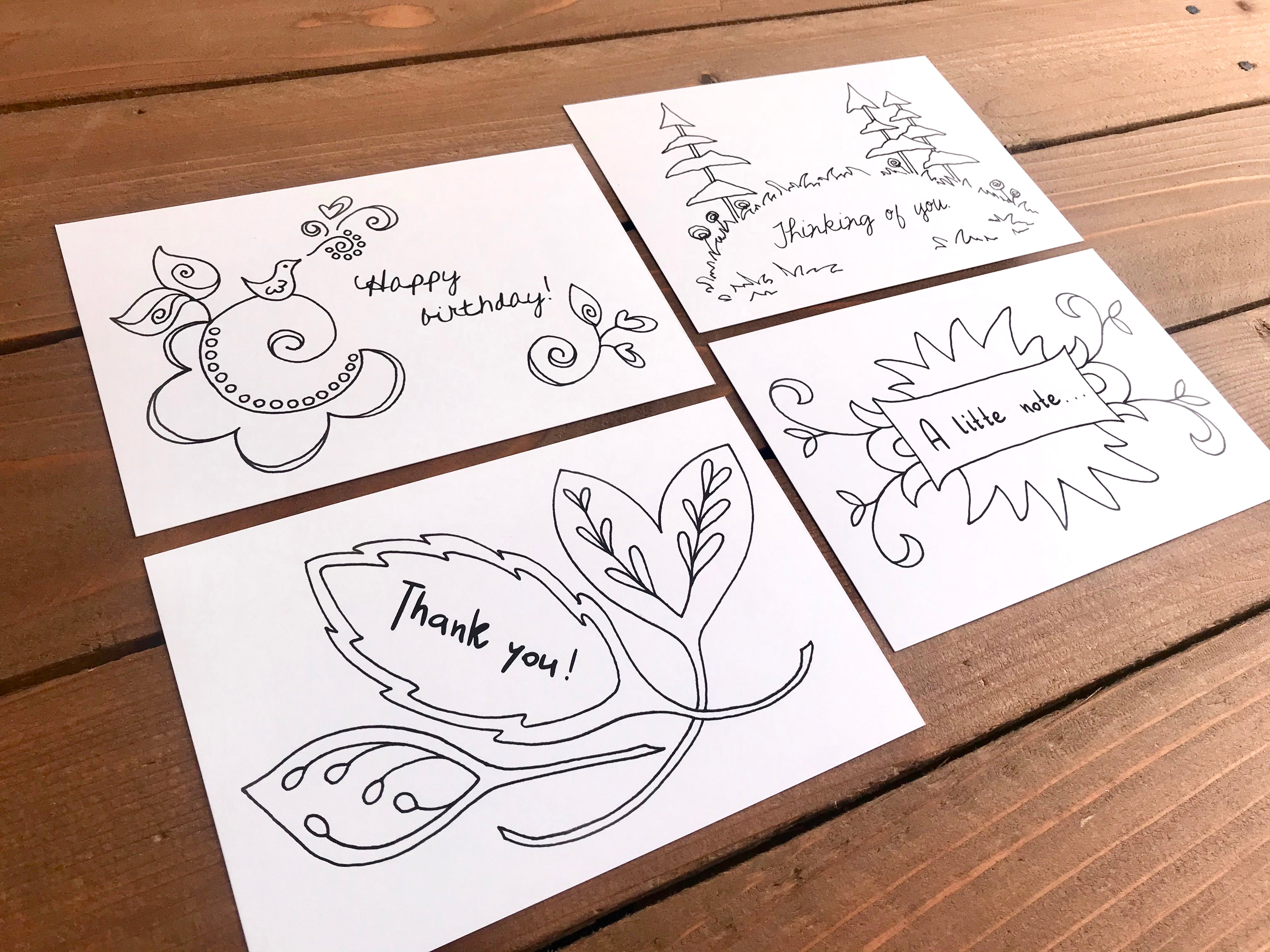 Color Your Own Postcards - Worded