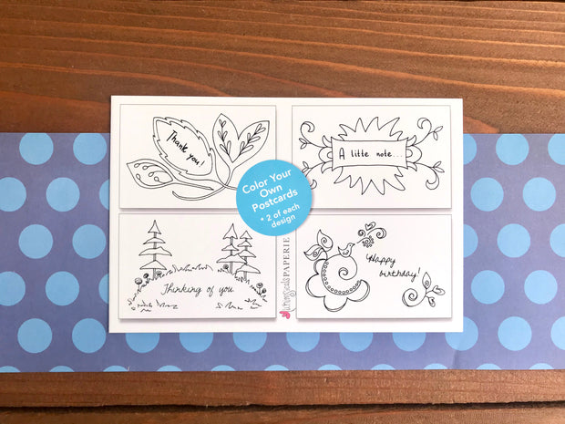 Color Your Own Postcards - Assorted Set of 8 Worded Coloring Cards 1
