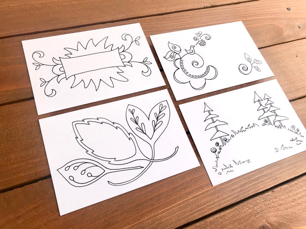 Color Your Own Postcards - Assorted Set of 8 Coloring Cards 1