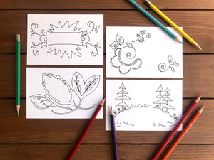 Color Your Own Postcards - Assorted Set of 8 Coloring Cards