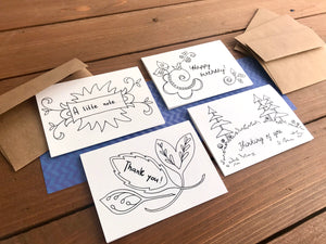 Color Your Own Notecards - Assorted Set of 8 Worded Coloring Cards