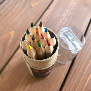 Mini Colored Pencil Kit - Set of 12 with Storage Tube and Sharpener