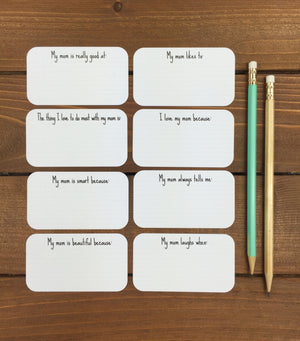 Kid39s Questionnaire Cards For Mom