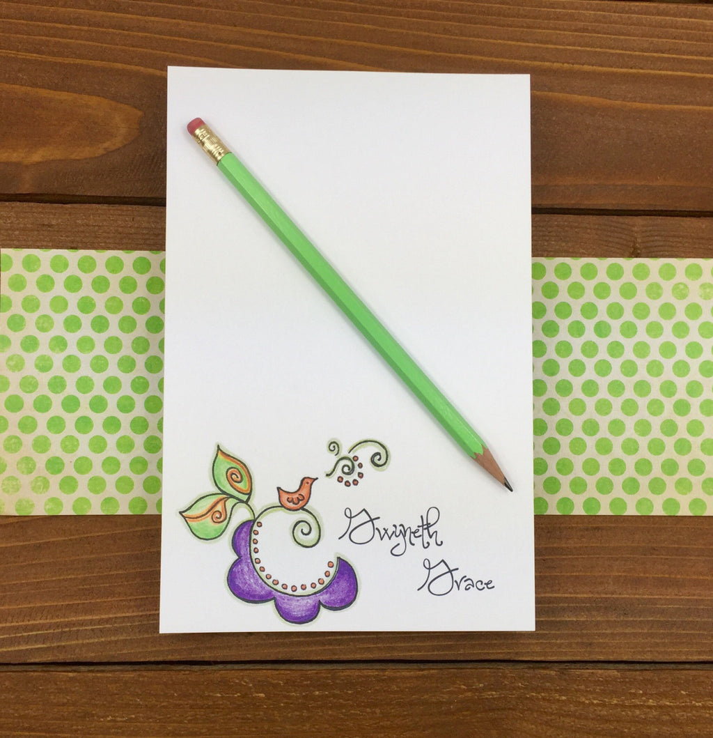 Swirly Bird Notepad - Personalized Note Pads, Bird Art, Singing Bird, Cute Notepads, Magnetic Notepad, Friend Gifts for Friends - 5.5 x 8.5