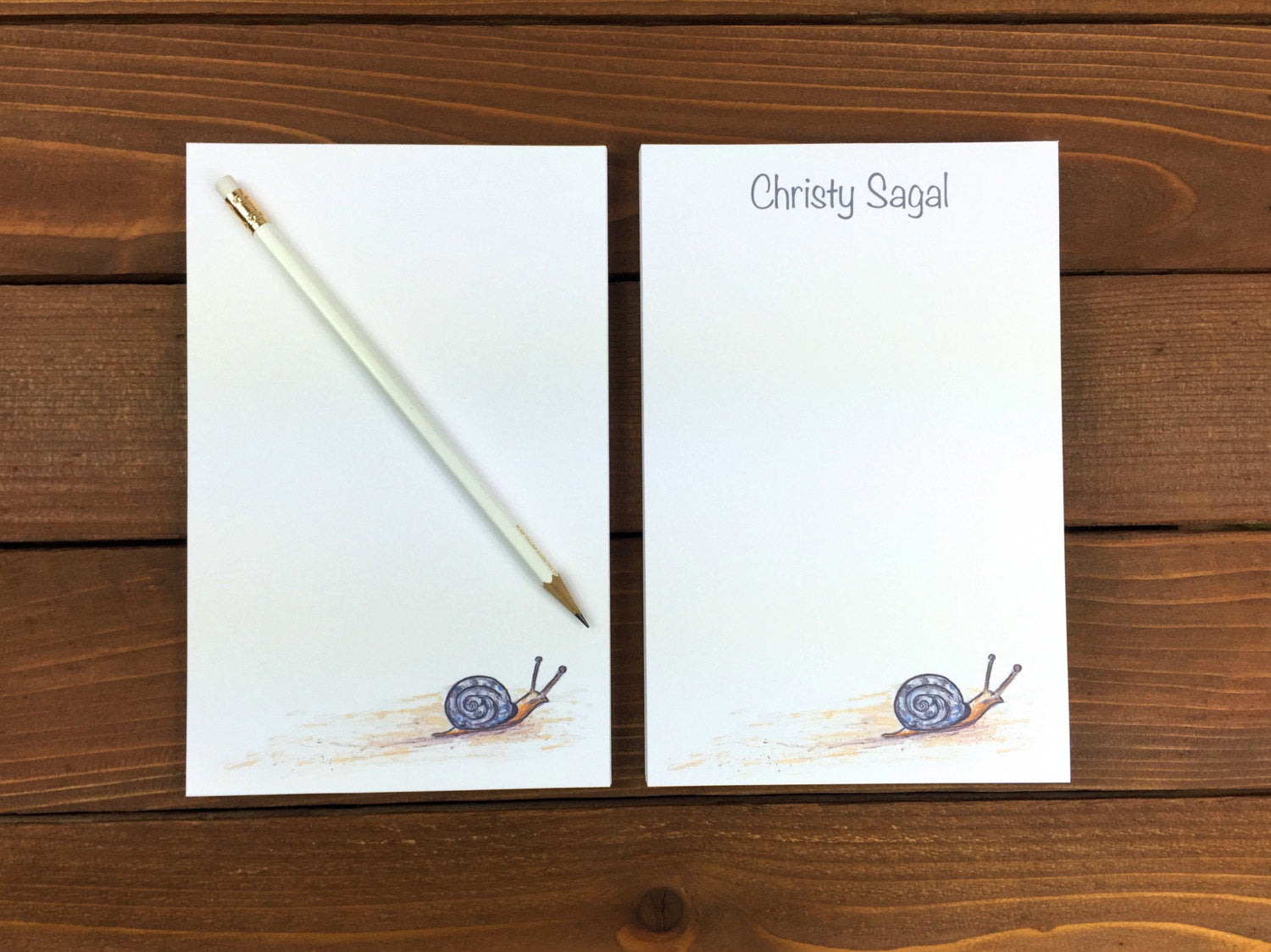 Snail Notepad, Snail Mail, Personalized Notepad, Personalized Note Pads, Magnetic Notepad, Cute Notepads, Note Paper, Desk Pad - 5.5 x 8.5