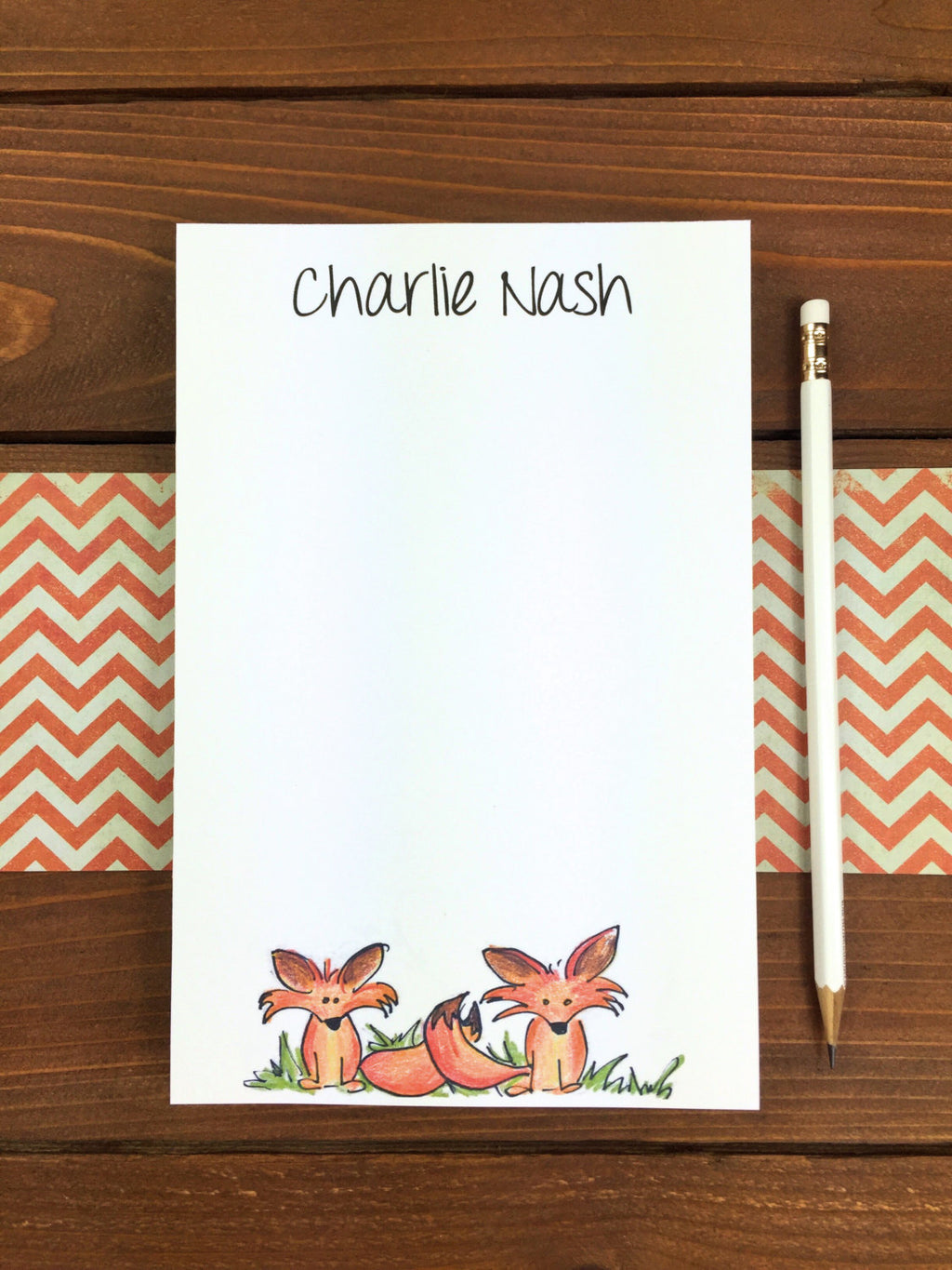 Fox Notepad, Personalized Fox Notepad, Fox Stationery, Cute Fox Gift, Woodland Creatures, Woodland Party Favors, Fox Note Pad - 5.5 x 8.5