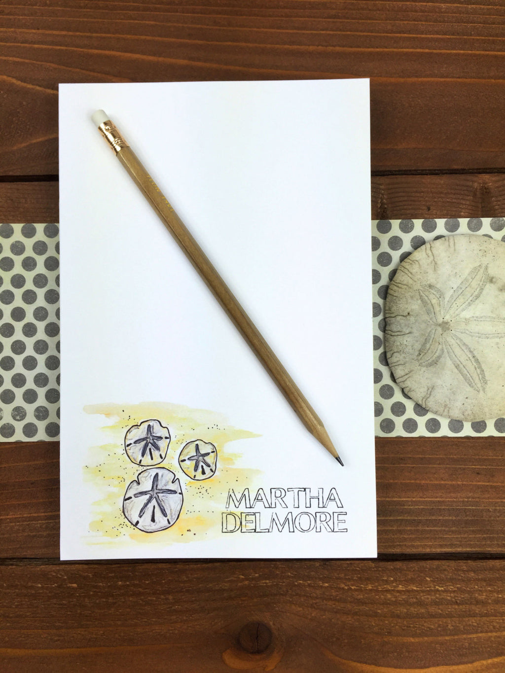 Sand Dollar Notepad - Personalized Notepad, Ocean Gifts, Ocean Life, Ocean Wedding Gift, Sand Dollar Art, Custom Gifts for Her - 5.5 x 8.5