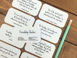 Friendship Quotes Set Of 8 Mini Quote Cards Whimsicals Paperie