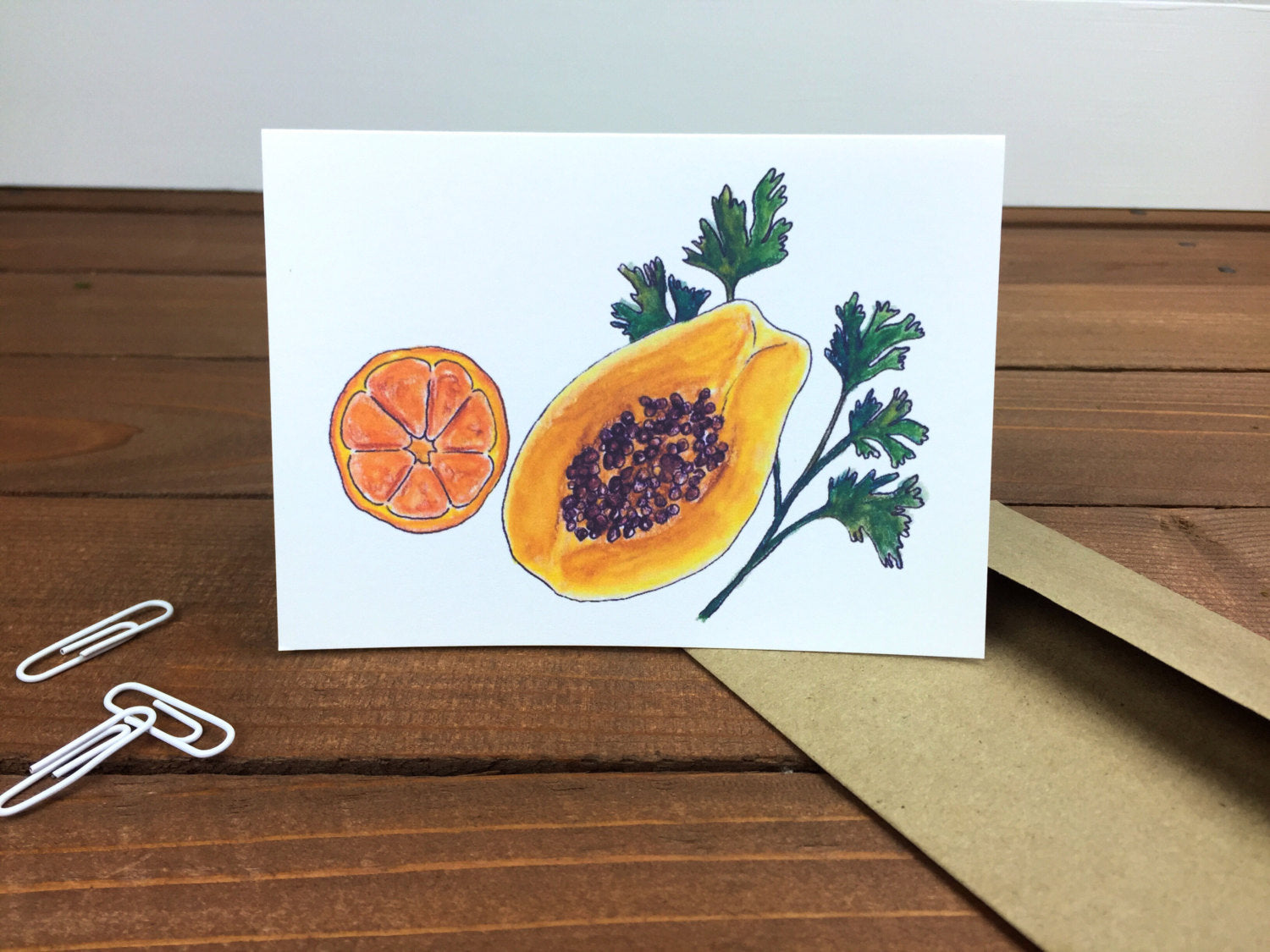 Papaya Parsley Just Because Cards, Boxed Set of 8 Note Cards - Blank Inside