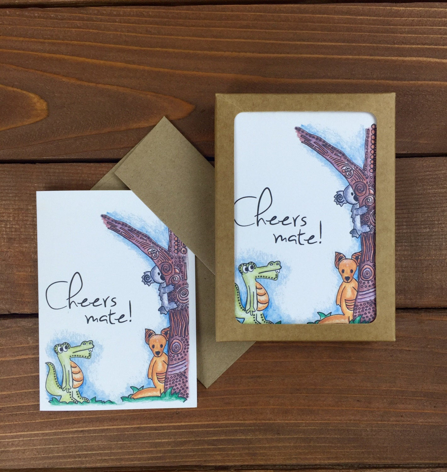 Cheers Mate Thank You Cards, Boxed Set of 8 Australian Themed Thank You Notes