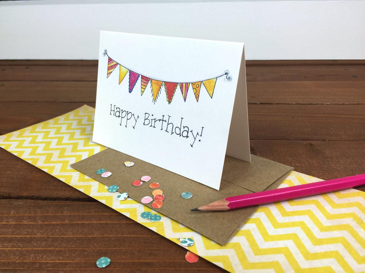 bunting happy birthday card set birthday card pack birthday card friend birthday card - Birthday Card Packs