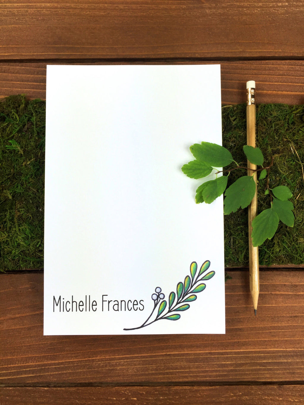 Twig Notepad - Personalized Hostess Gift, Mother In Law Gift, Gift Women, Nature Art Note Pad, Plants, Magnetic Notepad, Leaf - 5.5 x 8.5