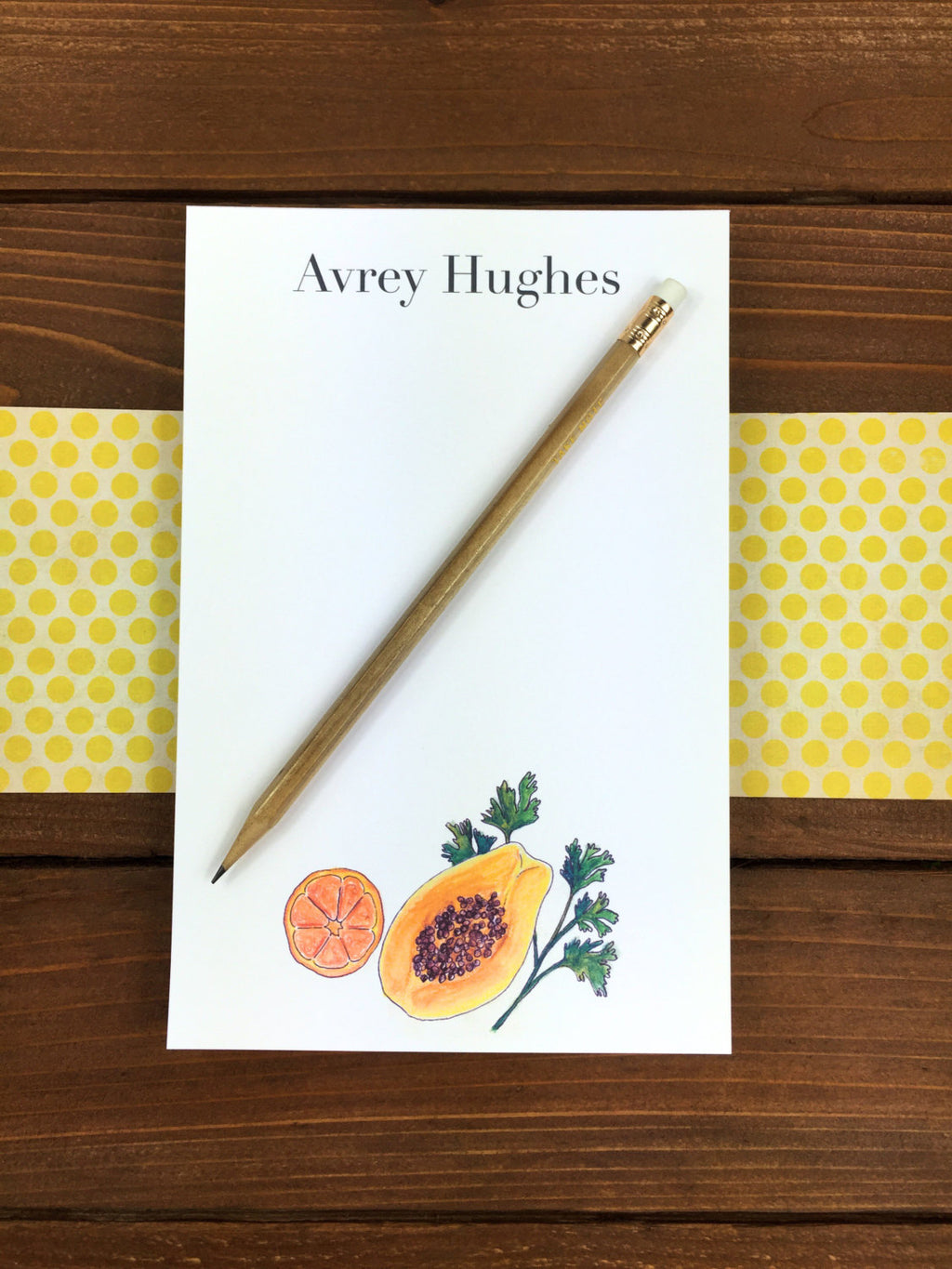 Papaya Notepad - Personalization Available
