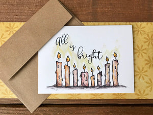 Candle Christmas Cards, All is Bright, Choose Your Saying, Customized Christmas Card Set, Christmas Note Card Set - Boxed Set of 8
