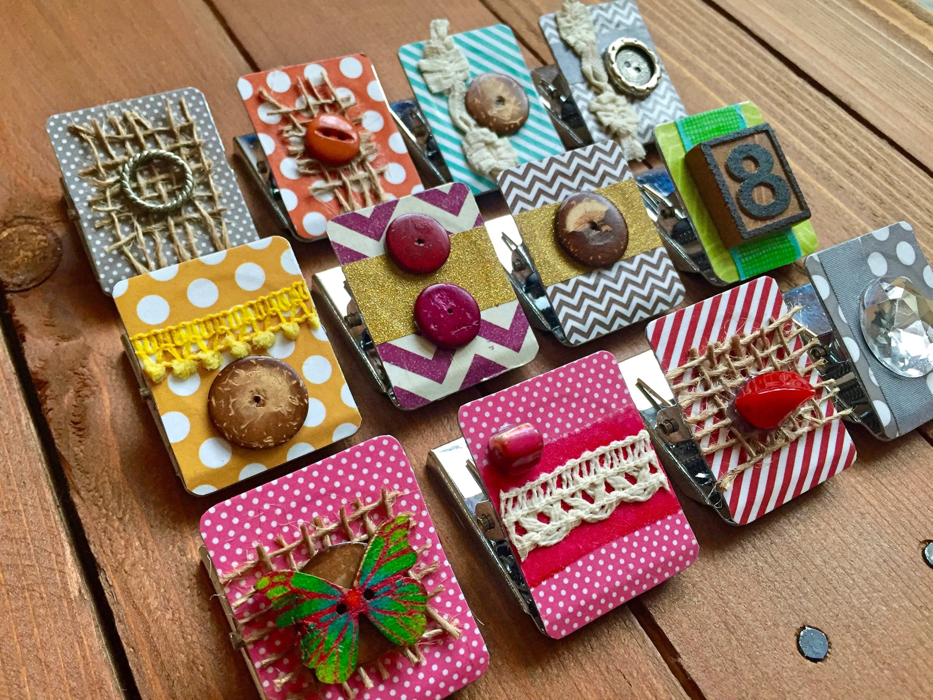 Set of 3 Metal Magnet Clips, Kitchen Magnets, Decorated Fridge Magnets Fridge, Refrigerator Magnet Set, Magnetic Clips - Set of 3 Magnets