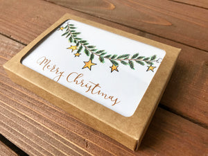 Garland Notecards, Personalized Christmas Cards, Choose Your Own Message, Holiday Cards, Notecard Set - Set of 8