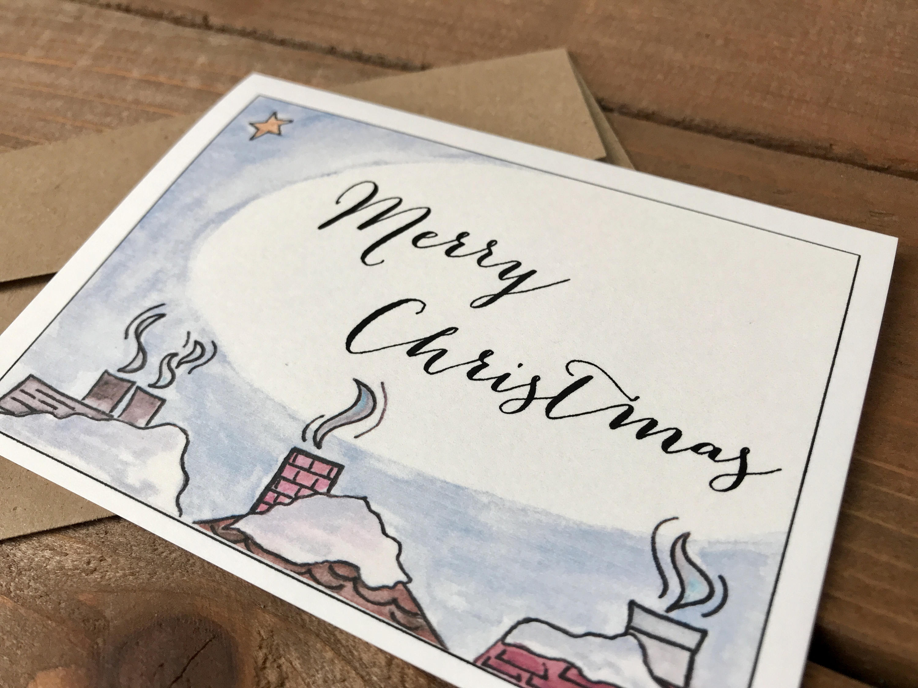 Snowy Rooftop Holiday Cards, Choose Your Message, Christmas Cards, Holiday Cards for Roofing Company, Notecards Set - Set of 8 Note Cards