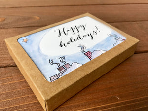 Snowy Rooftop Holiday  Cards, Choose Your Message - Boxed Set of 8