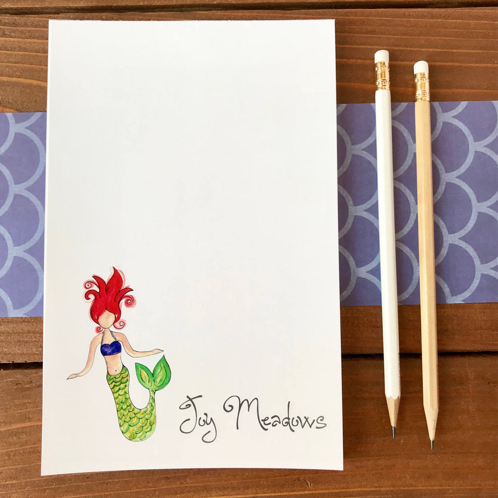 Mermaid Personalized Notepad, Cute Mermaid Paper, Mermaid Note Pad, Magnetic Notepad, Note Paper, Mermaid Gift for Kids, Ocean Life - 5.5 x