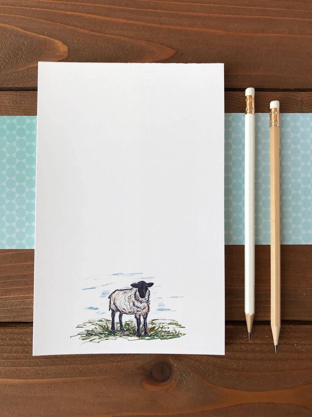 Sheep Notepad, Personalized Notepad, Sheep Art, Beautiful Ewe, Magnetic Notepad, Gift For Farmer, Animal Lover Gift, Cute Sheep  - 5.5 x 8.5
