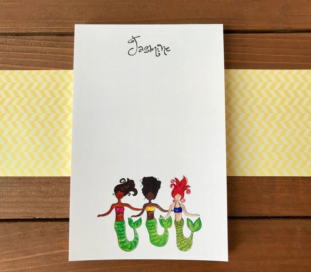 Mermaid Trio Notepad - Personalized Mermaid Gift for Kids - 5.5 x 8.5