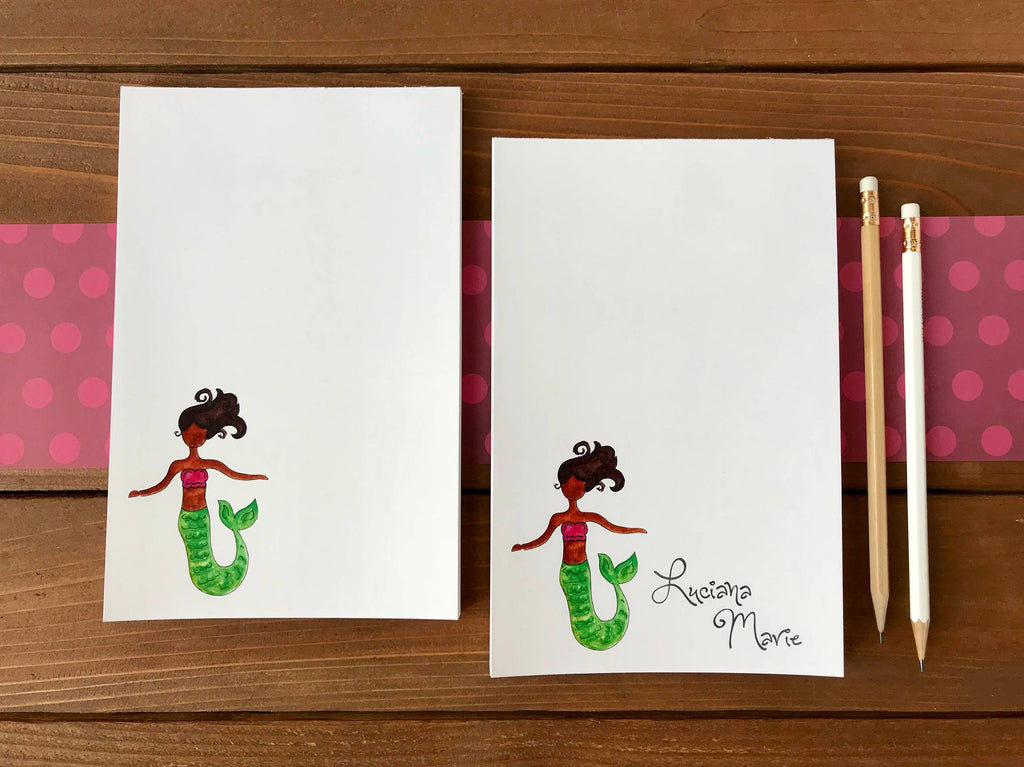 Brown Mermaid Notepad - Mermaid of Color Personalized Gift for Girls - 5.5 x 8.5