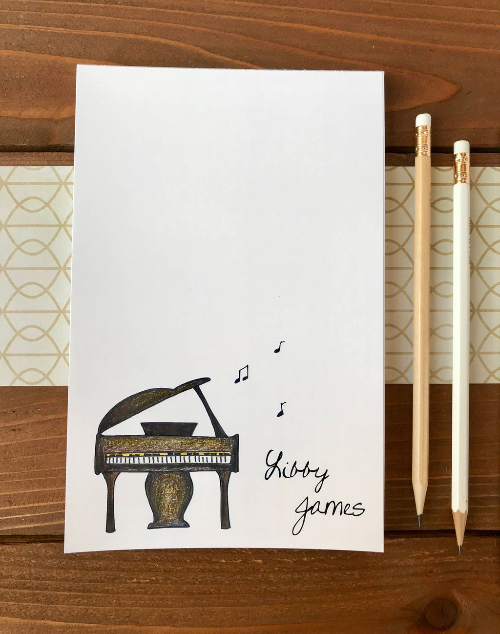 Piano Notepad - Piano Teacher Gift, Personalized Notepad - 5.5 x 8.5