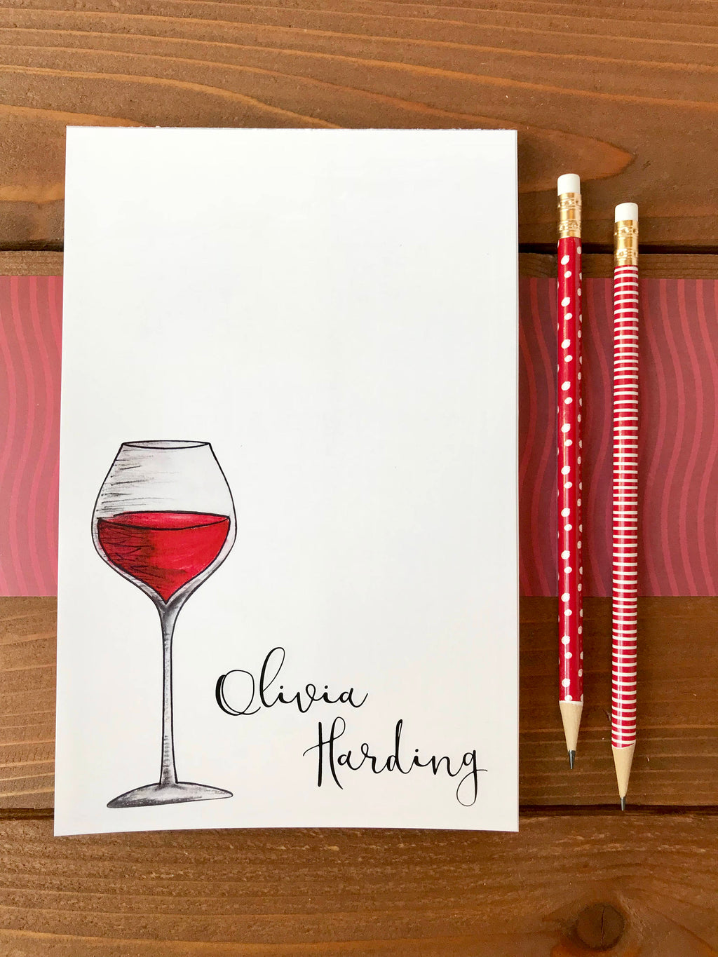 Wine Notepad - Personalized Notepad, Wine Gift - 5.5 x 8.5