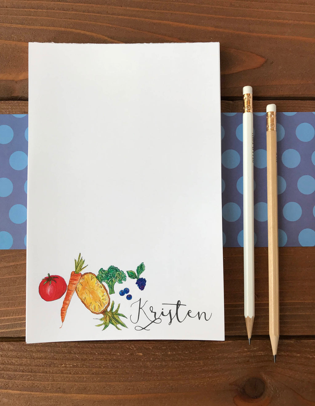 Rainbow Fruit Notepad - Personalized Kitchen Gift for Cook - 5.5 x 8.5