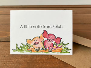 Hogs and Kisses Card Set, Choose Your Own Saying Cute Pig Cards, Mini Pigs - Boxed Set of 8