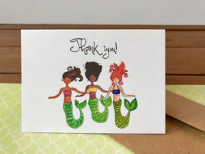 Mermaid Trio Card Set, Choose Your Own Saying Mermaid Cards - Boxed Set of 8