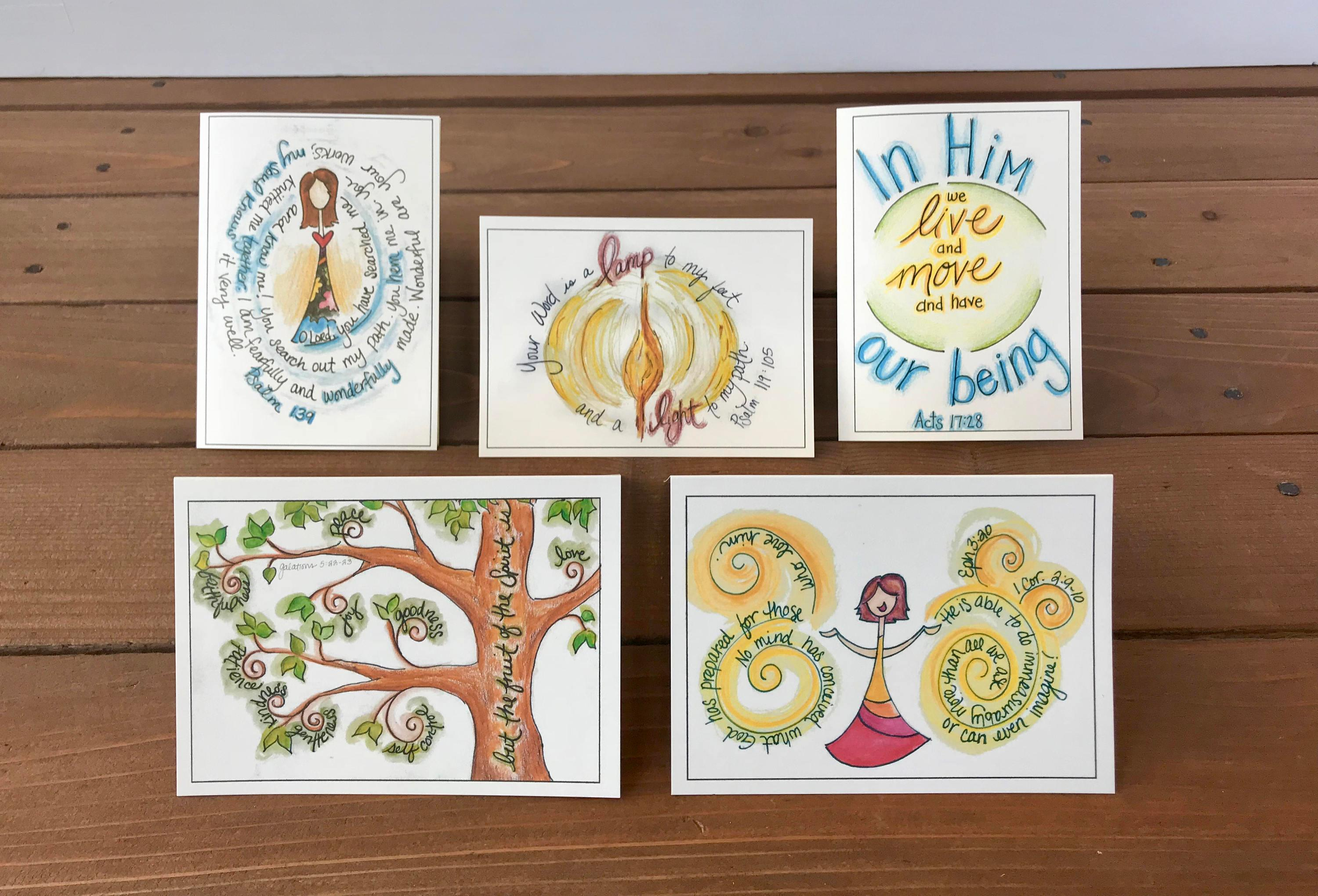 Abide Scripture Note Cards Set 4 Assorted Set Of 5 Whimsicals