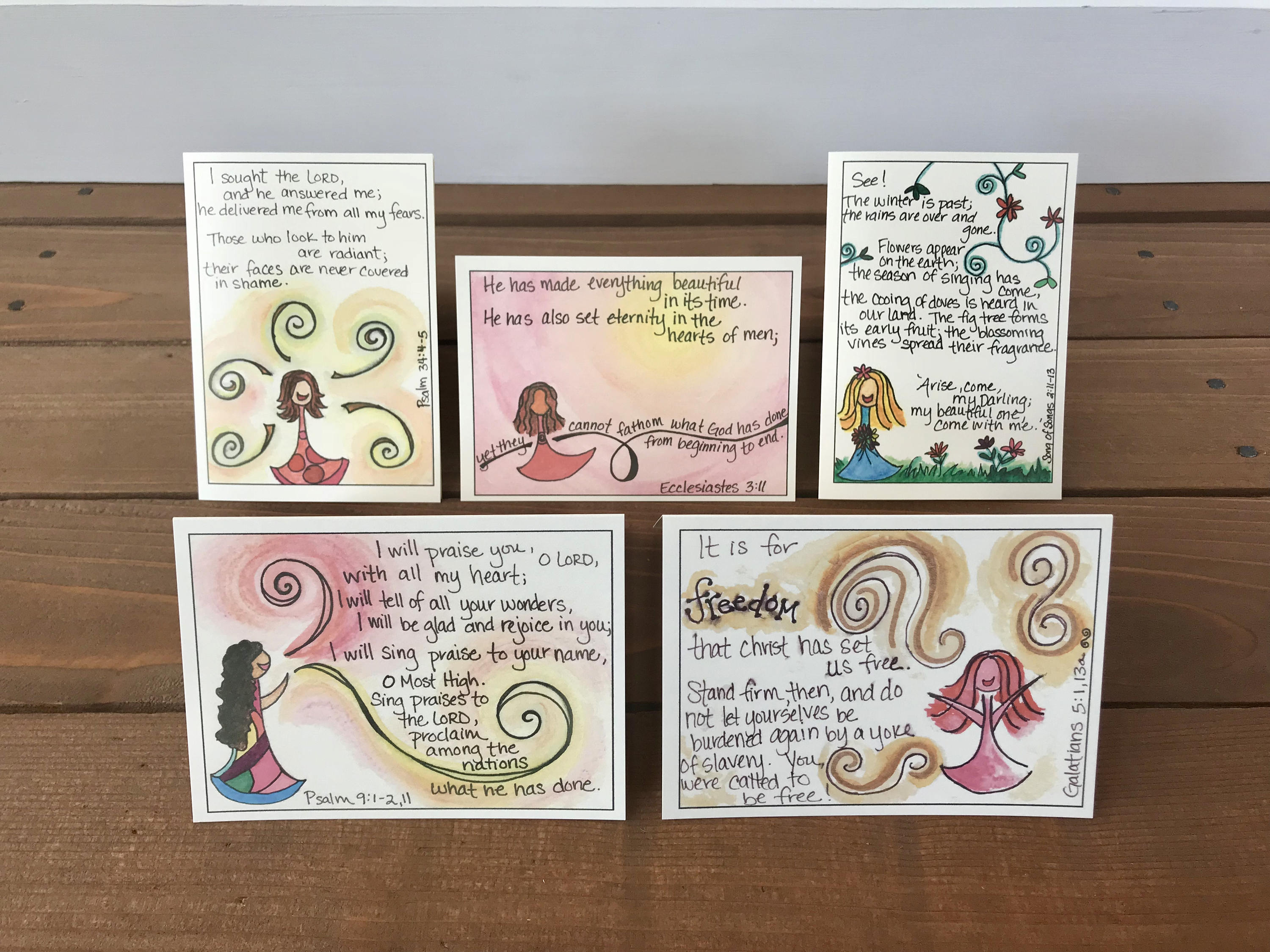 Freedom Scripture Note Cards Set 1 Assorted Set Of 5 Whimsicals